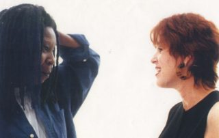 Brazil Business Link Nathalie Hoffman and Whoopi Goldberg on set for a Brazilian beer commercial